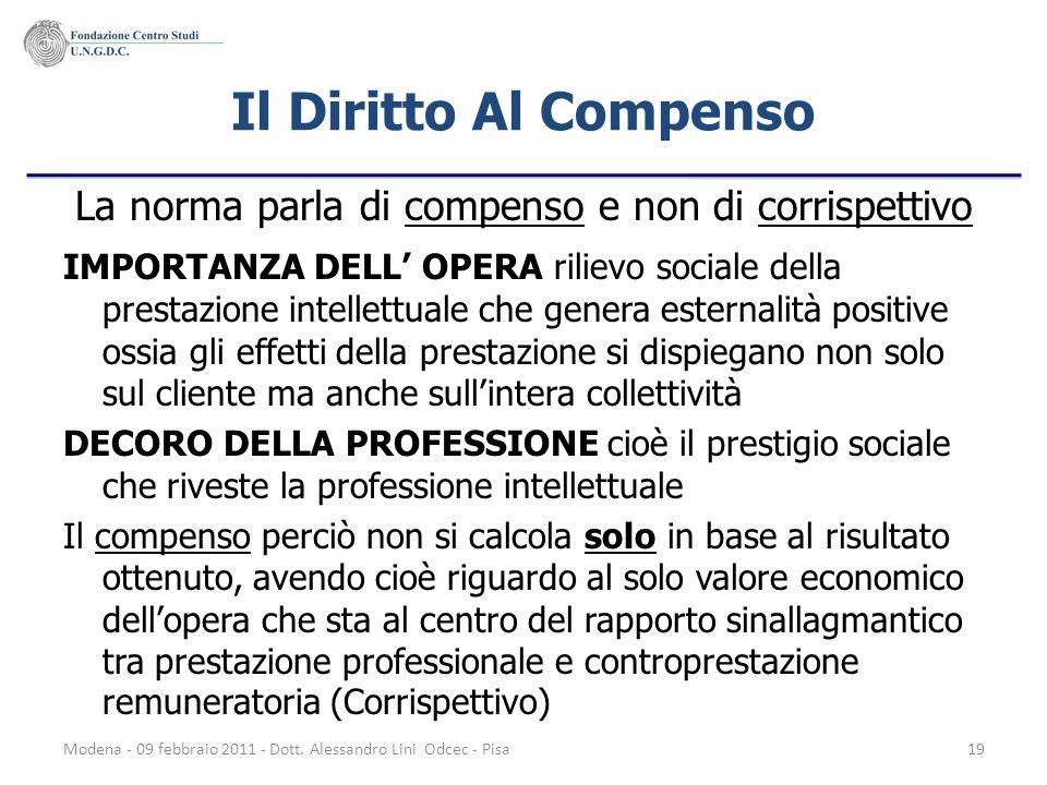 Modena - 09 febbraio 2011 - Dott. Alessandro Lini Odcec - Pisa19 Il Diritto Al Compenso La norma parla di compenso e non di corrispettivo IMPORTANZA D
