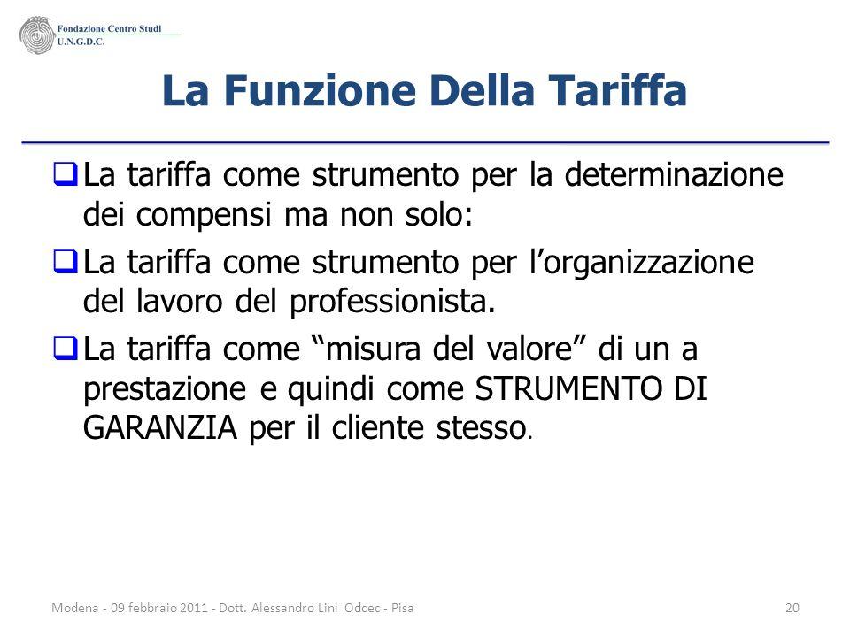 Modena - 09 febbraio 2011 - Dott. Alessandro Lini Odcec - Pisa20 La Funzione Della Tariffa La tariffa come strumento per la determinazione dei compens
