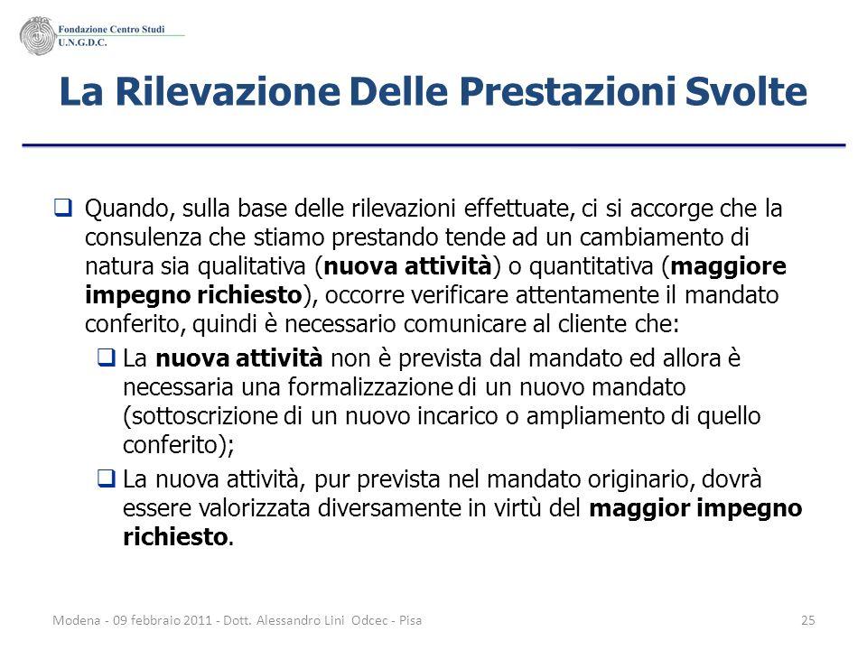 Modena - 09 febbraio 2011 - Dott. Alessandro Lini Odcec - Pisa25 La Rilevazione Delle Prestazioni Svolte Quando, sulla base delle rilevazioni effettua