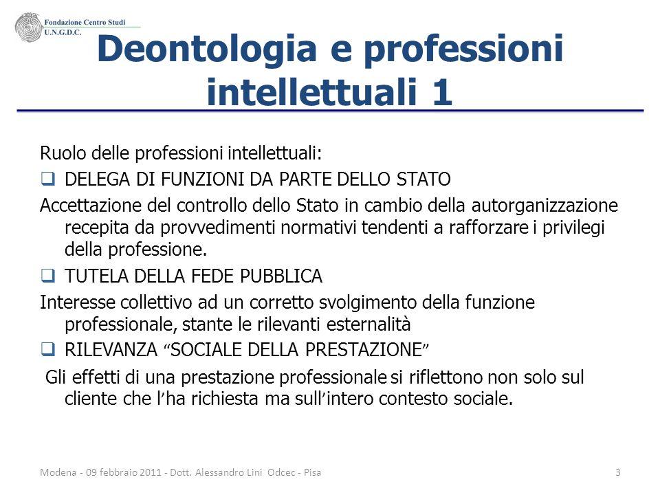 Modena - 09 febbraio 2011 - Dott. Alessandro Lini Odcec - Pisa3 Deontologia e professioni intellettuali 1 Ruolo delle professioni intellettuali: DELEG