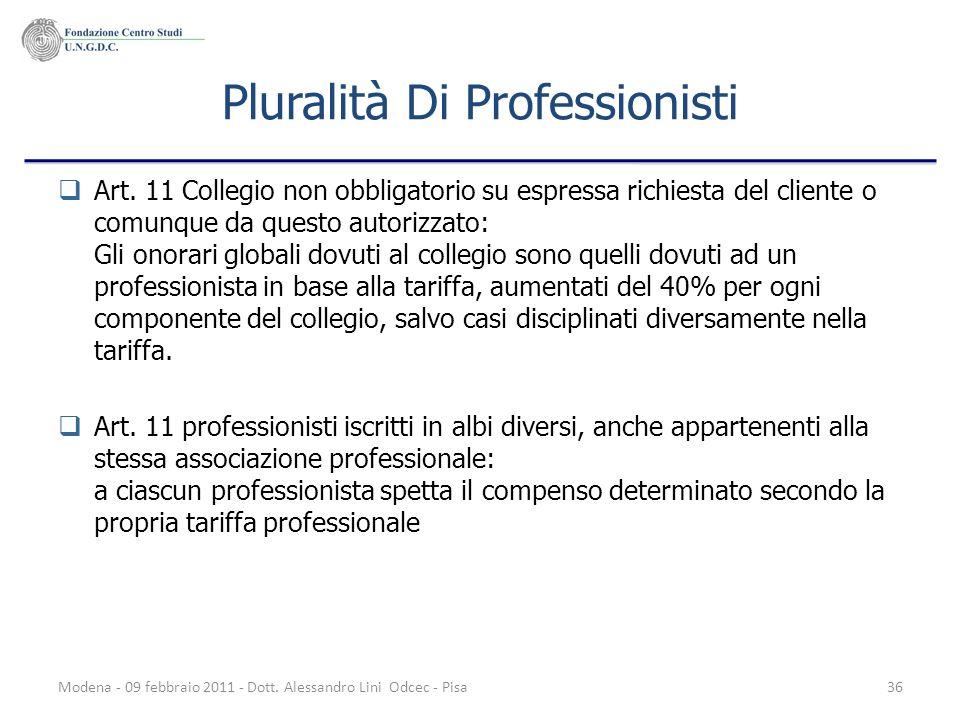 Modena - 09 febbraio 2011 - Dott. Alessandro Lini Odcec - Pisa36 Pluralità Di Professionisti Art. 11 Collegio non obbligatorio su espressa richiesta d