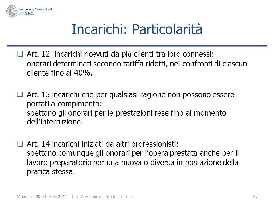 Modena - 09 febbraio 2011 - Dott. Alessandro Lini Odcec - Pisa37 Incarichi: Particolarità Art. 12 incarichi ricevuti da pi ù clienti tra loro connessi
