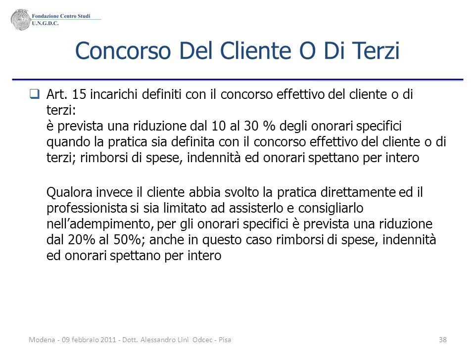 Modena - 09 febbraio 2011 - Dott. Alessandro Lini Odcec - Pisa38 Concorso Del Cliente O Di Terzi Art. 15 incarichi definiti con il concorso effettivo