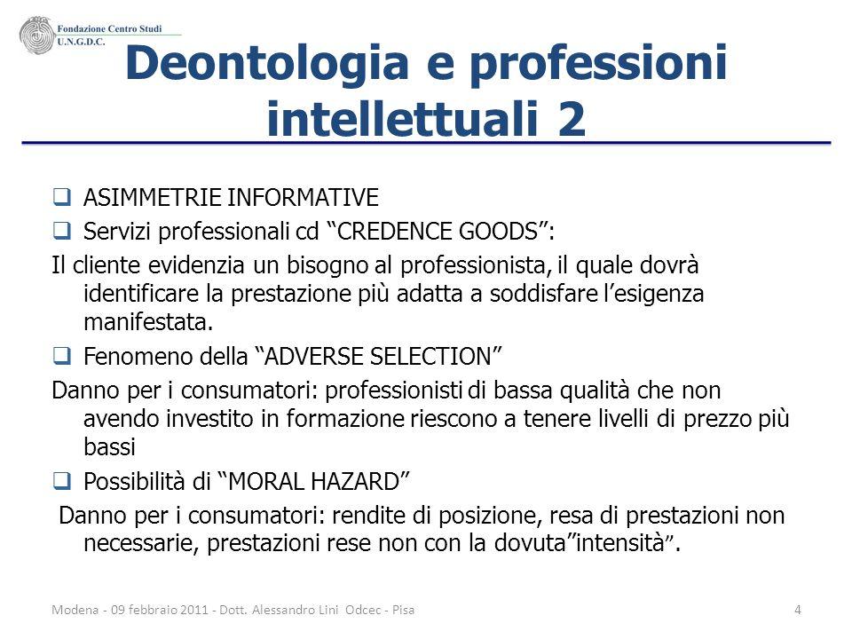 Modena - 09 febbraio 2011 - Dott. Alessandro Lini Odcec - Pisa4 Deontologia e professioni intellettuali 2 ASIMMETRIE INFORMATIVE Servizi professionali