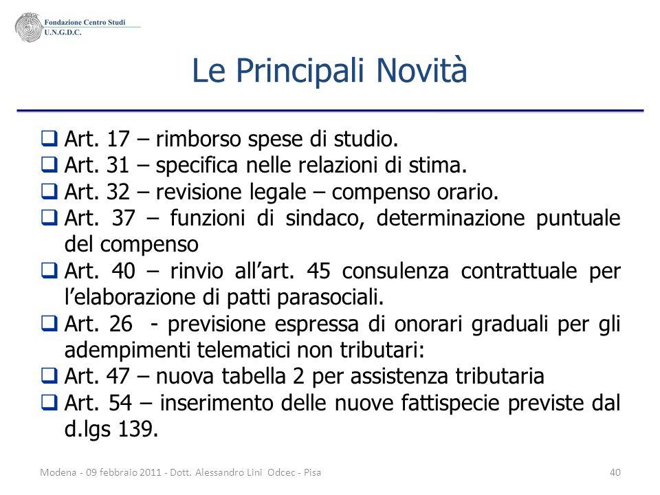 Modena - 09 febbraio 2011 - Dott. Alessandro Lini Odcec - Pisa40 Le Principali Novità Art. 17 – rimborso spese di studio. Art. 31 – specifica nelle re