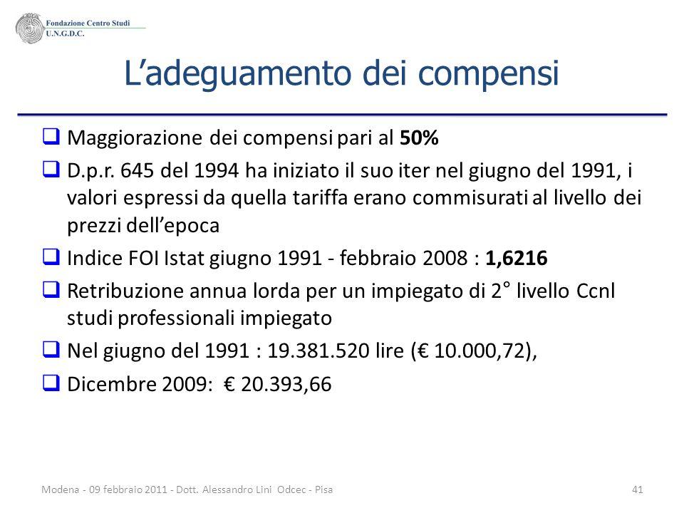 Modena - 09 febbraio 2011 - Dott. Alessandro Lini Odcec - Pisa41 Ladeguamento dei compensi Maggiorazione dei compensi pari al 50% D.p.r. 645 del 1994