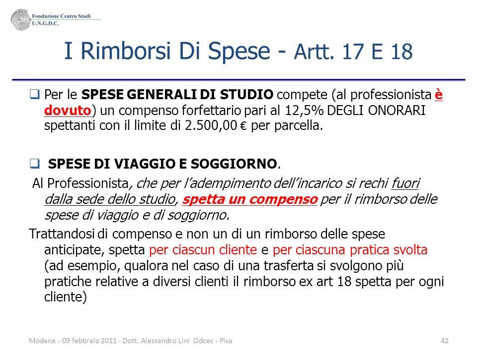 Modena - 09 febbraio 2011 - Dott. Alessandro Lini Odcec - Pisa42 I Rimborsi Di Spese - Artt. 17 E 18 Per le SPESE GENERALI DI STUDIO compete (al profe