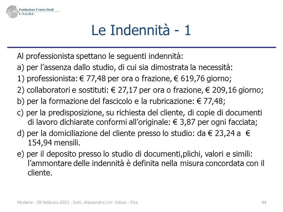 Modena - 09 febbraio 2011 - Dott. Alessandro Lini Odcec - Pisa44 Le Indennità - 1 Al professionista spettano le seguenti indennità: a) per lassenza da