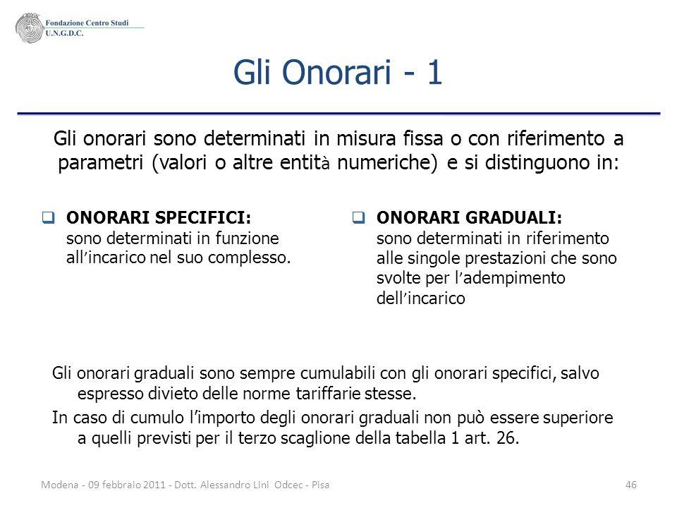 Modena - 09 febbraio 2011 - Dott. Alessandro Lini Odcec - Pisa46 Gli Onorari - 1 ONORARI SPECIFICI: sono determinati in funzione all incarico nel suo