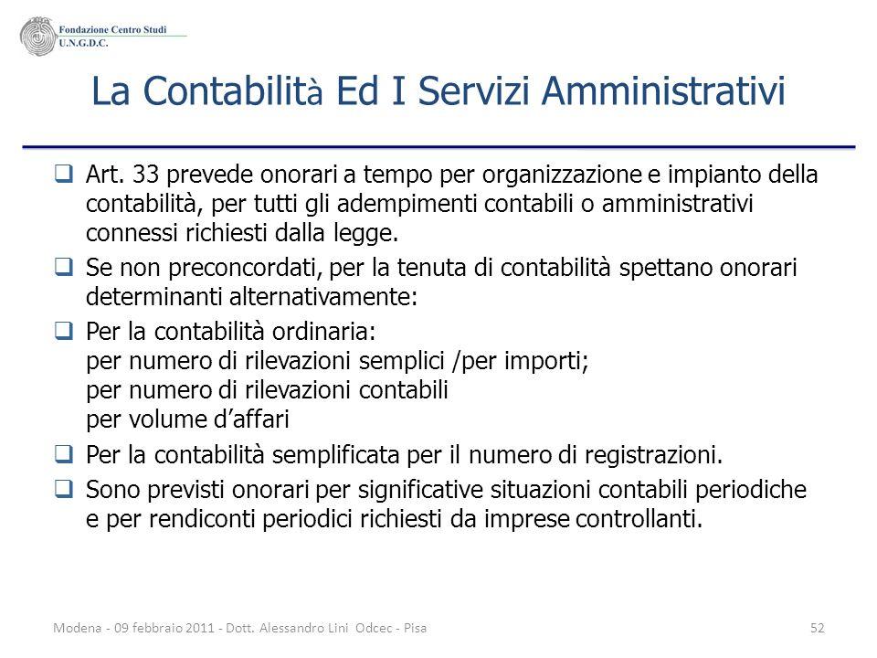 Modena - 09 febbraio 2011 - Dott. Alessandro Lini Odcec - Pisa52 La Contabilit à Ed I Servizi Amministrativi Art. 33 prevede onorari a tempo per organ