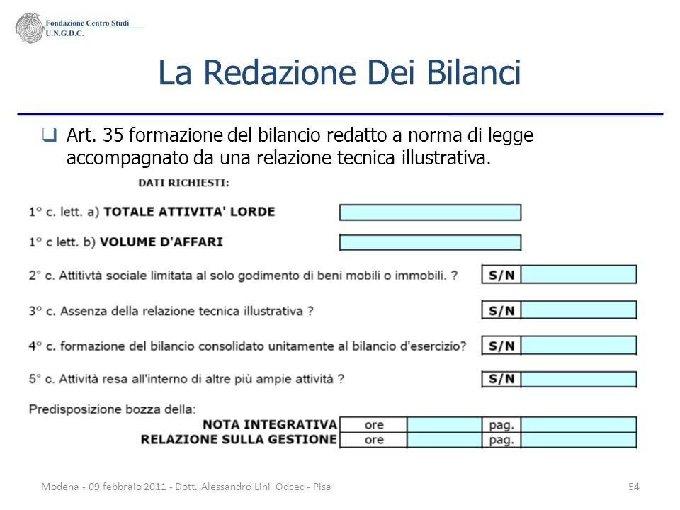 Modena - 09 febbraio 2011 - Dott. Alessandro Lini Odcec - Pisa54 La Redazione Dei Bilanci Art. 35 formazione del bilancio redatto a norma di legge acc