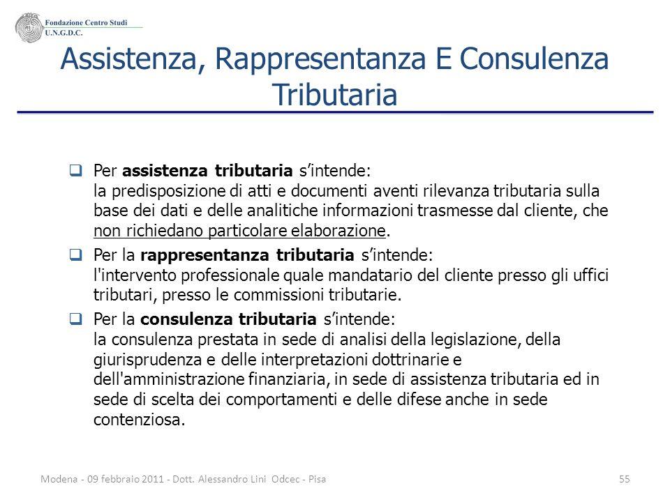 Modena - 09 febbraio 2011 - Dott. Alessandro Lini Odcec - Pisa55 Assistenza, Rappresentanza E Consulenza Tributaria Per assistenza tributaria sintende