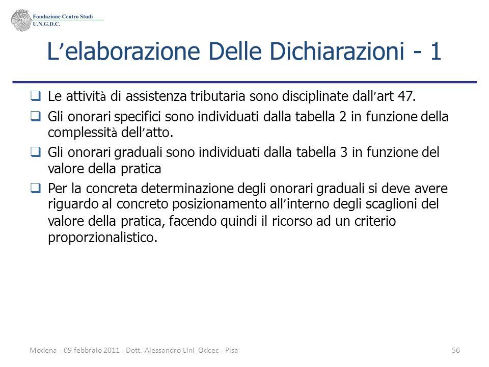 Modena - 09 febbraio 2011 - Dott. Alessandro Lini Odcec - Pisa56 L elaborazione Delle Dichiarazioni - 1 Le attivit à di assistenza tributaria sono dis