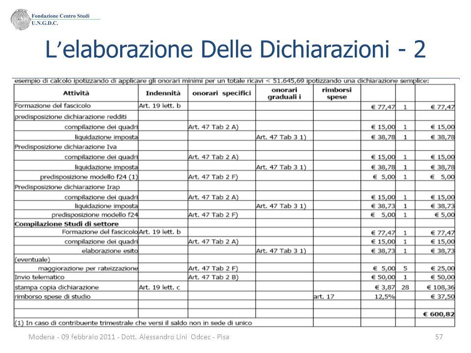 Modena - 09 febbraio 2011 - Dott. Alessandro Lini Odcec - Pisa57 L elaborazione Delle Dichiarazioni - 2