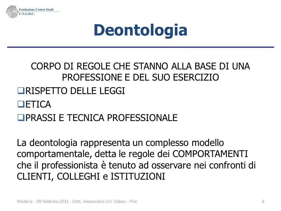 Modena - 09 febbraio 2011 - Dott. Alessandro Lini Odcec - Pisa6 Deontologia CORPO DI REGOLE CHE STANNO ALLA BASE DI UNA PROFESSIONE E DEL SUO ESERCIZI