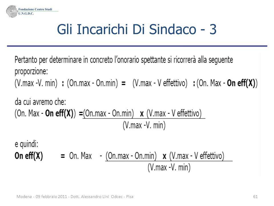 Modena - 09 febbraio 2011 - Dott. Alessandro Lini Odcec - Pisa61 Gli Incarichi Di Sindaco - 3