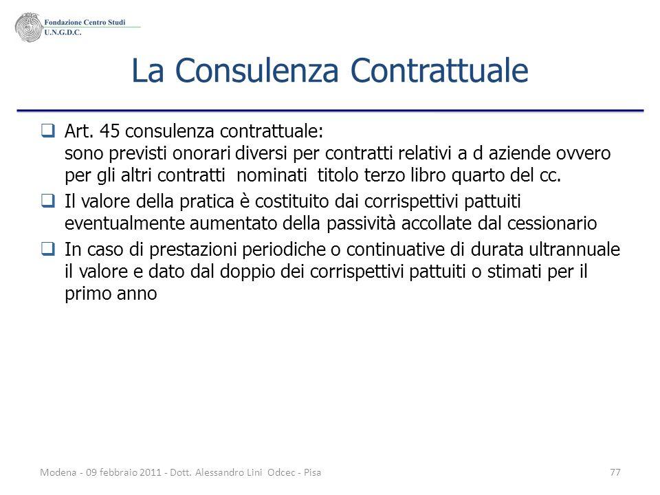 Modena - 09 febbraio 2011 - Dott. Alessandro Lini Odcec - Pisa77 La Consulenza Contrattuale Art. 45 consulenza contrattuale: sono previsti onorari div