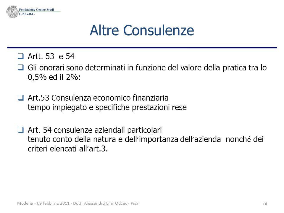Modena - 09 febbraio 2011 - Dott. Alessandro Lini Odcec - Pisa78 Altre Consulenze Artt. 53 e 54 Gli onorari sono determinati in funzione del valore de