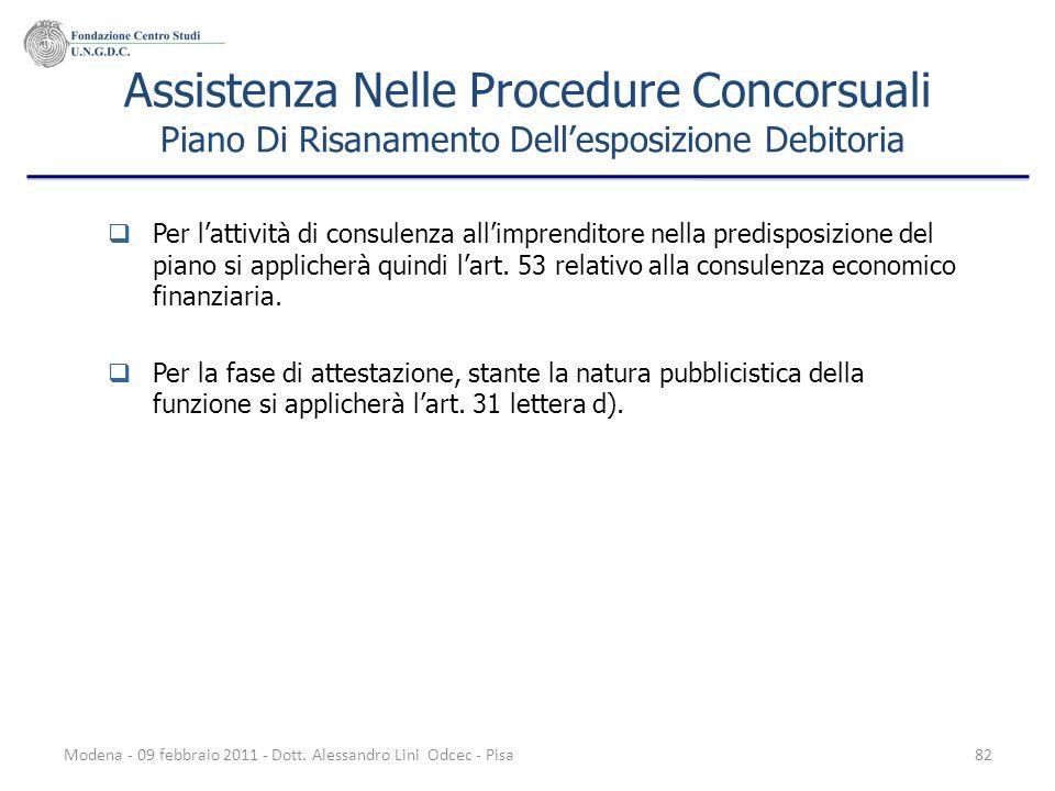 Modena - 09 febbraio 2011 - Dott. Alessandro Lini Odcec - Pisa82 Assistenza Nelle Procedure Concorsuali Piano Di Risanamento Dellesposizione Debitoria