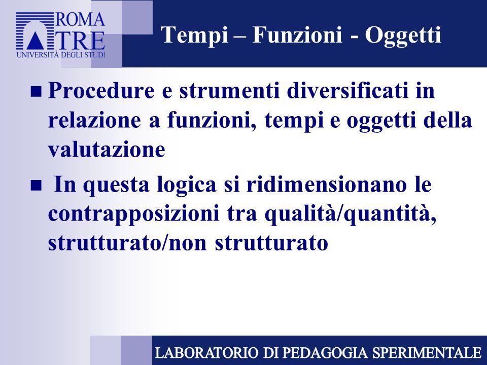 Tempi – Funzioni - Oggetti Procedure e strumenti diversificati in relazione a funzioni, tempi e oggetti della valutazione In questa logica si ridimens
