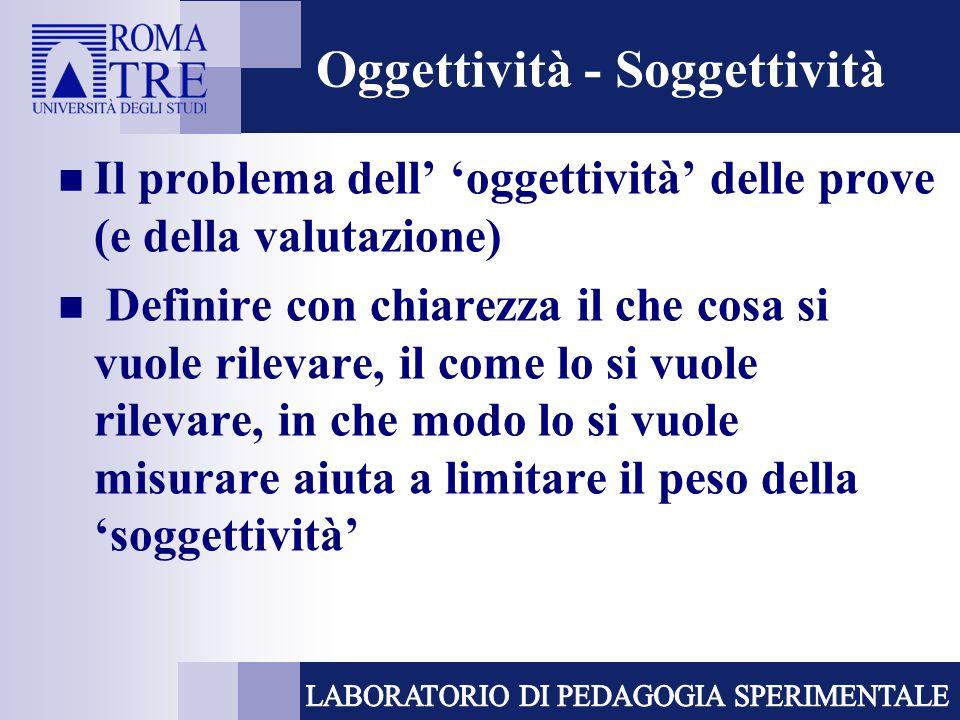 Oggettività - Soggettività Il problema dell oggettività delle prove (e della valutazione) Definire con chiarezza il che cosa si vuole rilevare, il com