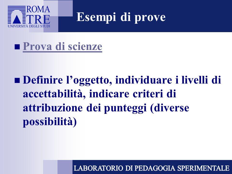 Esempi di prove Prova di scienze Definire loggetto, individuare i livelli di accettabilità, indicare criteri di attribuzione dei punteggi (diverse pos