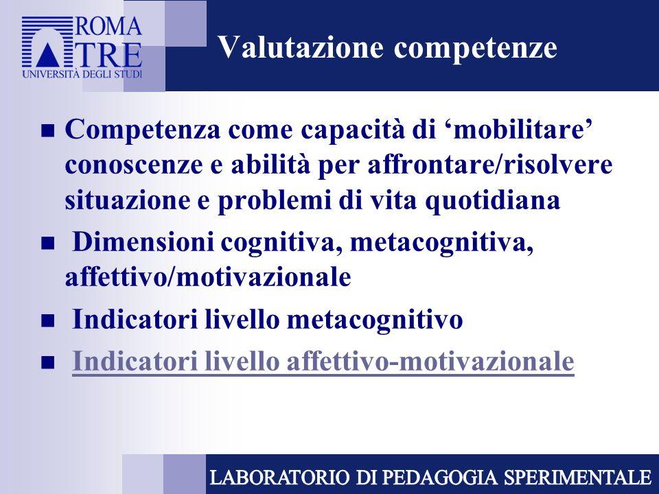 Valutazione competenze Competenza come capacità di mobilitare conoscenze e abilità per affrontare/risolvere situazione e problemi di vita quotidiana D
