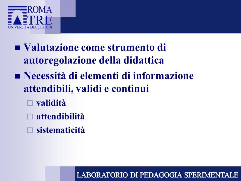 Valutazione come strumento di autoregolazione della didattica Necessità di elementi di informazione attendibili, validi e continui validità attendibil