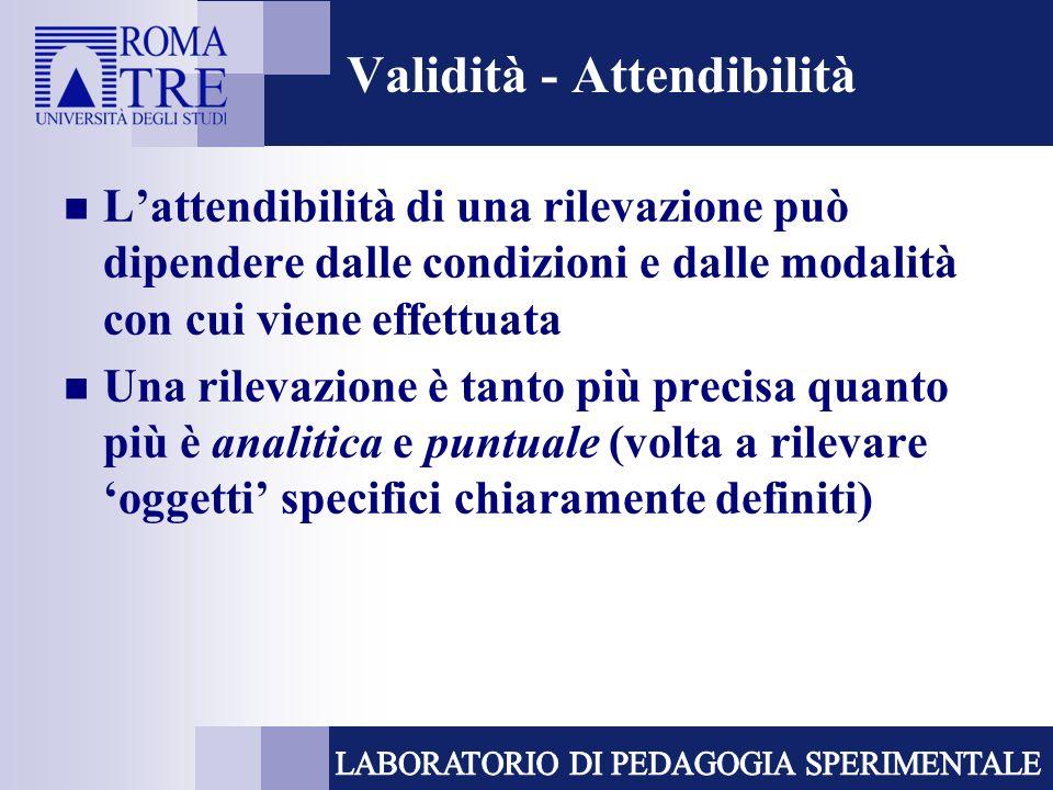 Validità - Attendibilità Lattendibilità di una rilevazione può dipendere dalle condizioni e dalle modalità con cui viene effettuata Una rilevazione è