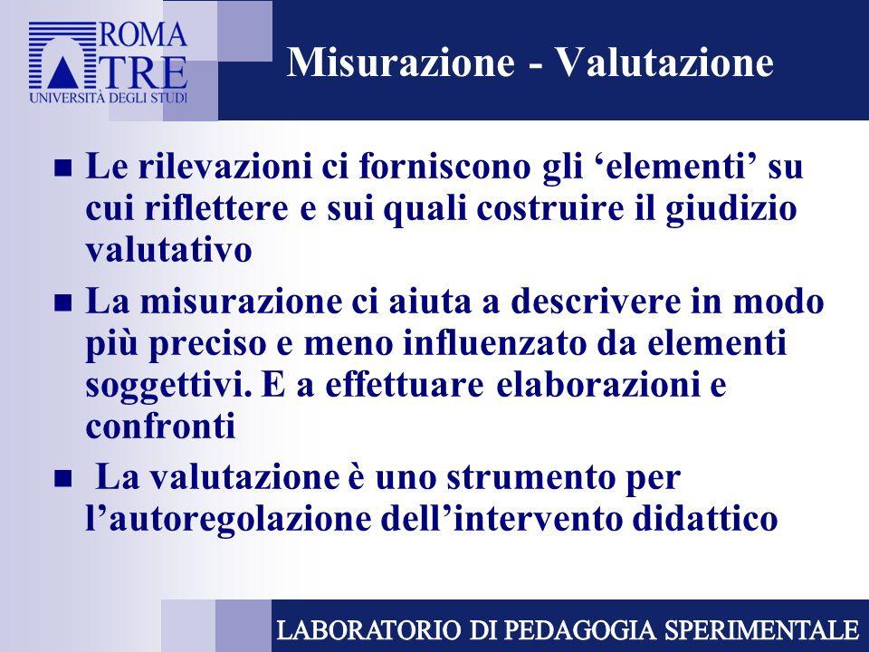 Misurazione - Valutazione Le rilevazioni ci forniscono gli elementi su cui riflettere e sui quali costruire il giudizio valutativo La misurazione ci a