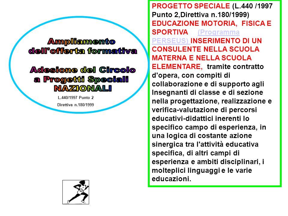 L.440/1997 Punto 2 Direttiva n.180/1999 PROGETTO SPECIALE (L.440 /1997 Punto 2,Direttiva n.180/1999) EDUCAZIONE MOTORIA, FISICA E SPORTIVA (Programma