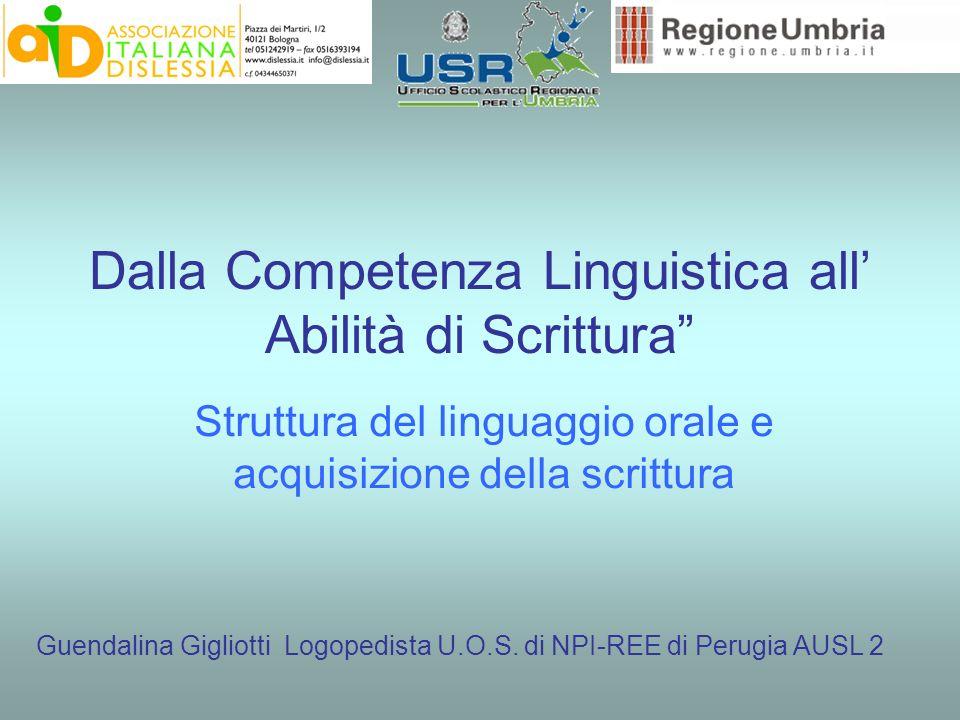 Dalla Competenza Linguistica all Abilità di Scrittura Struttura del linguaggio orale e acquisizione della scrittura Guendalina Gigliotti Logopedista U.O.S.