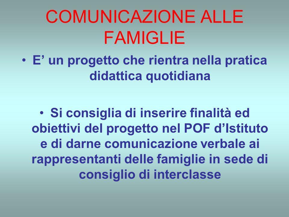 COMUNICAZIONE ALLE FAMIGLIE E un progetto che rientra nella pratica didattica quotidiana Si consiglia di inserire finalità ed obiettivi del progetto nel POF dIstituto e di darne comunicazione verbale ai rappresentanti delle famiglie in sede di consiglio di interclasse