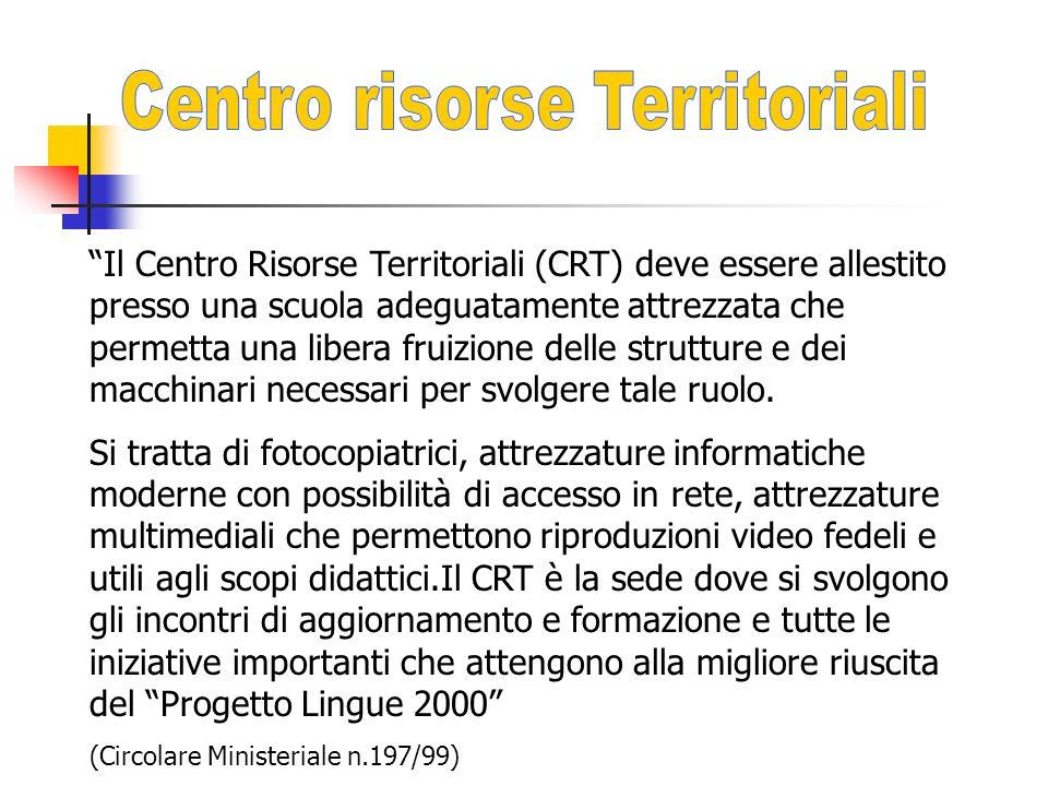 Il Centro Risorse Territoriali (CRT) deve essere allestito presso una scuola adeguatamente attrezzata che permetta una libera fruizione delle strutture e dei macchinari necessari per svolgere tale ruolo.