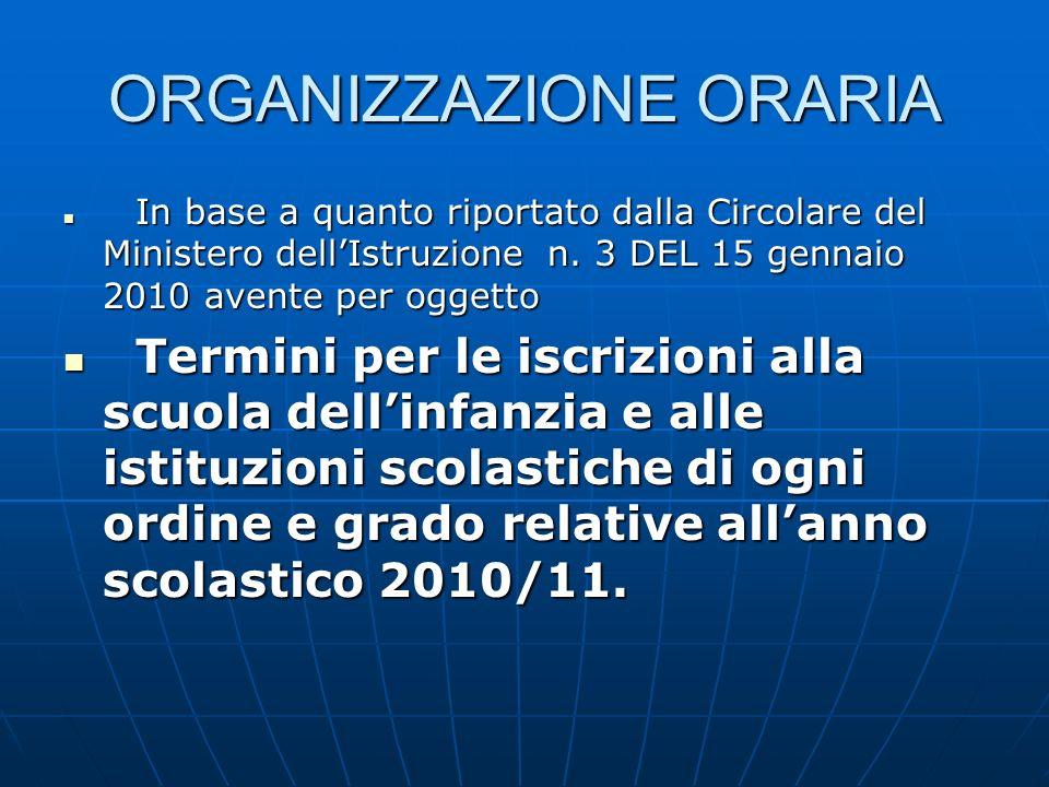 ORGANIZZAZIONE ORARIA In base a quanto riportato dalla Circolare del Ministero dellIstruzione n.