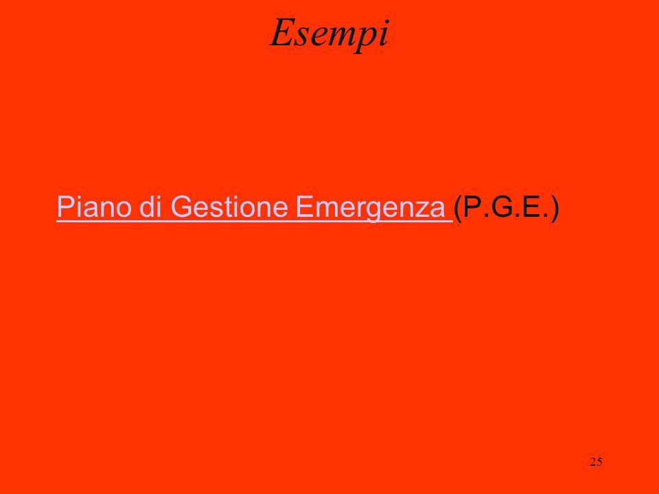 25 Esempi Piano di Gestione Emergenza Piano di Gestione Emergenza (P.G.E.)