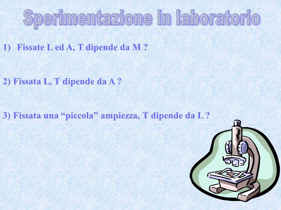 1)Fissate L ed A, T dipende da M ? 2) Fissata L, T dipende da A ? 3) Fissata una piccola ampiezza, T dipende da L ?