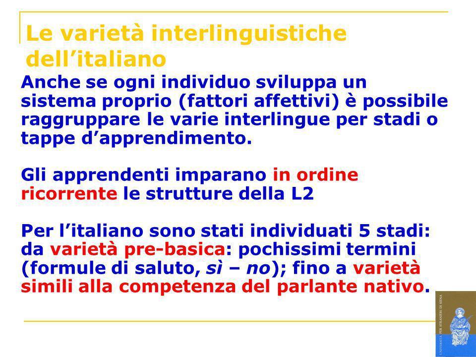 Le varietà interlinguistiche dellitaliano Anche se ogni individuo sviluppa un sistema proprio (fattori affettivi) è possibile raggruppare le varie int