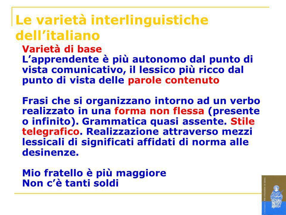 Le varietà interlinguistiche dellitaliano Varietà di base Lapprendente è più autonomo dal punto di vista comunicativo, il lessico più ricco dal punto
