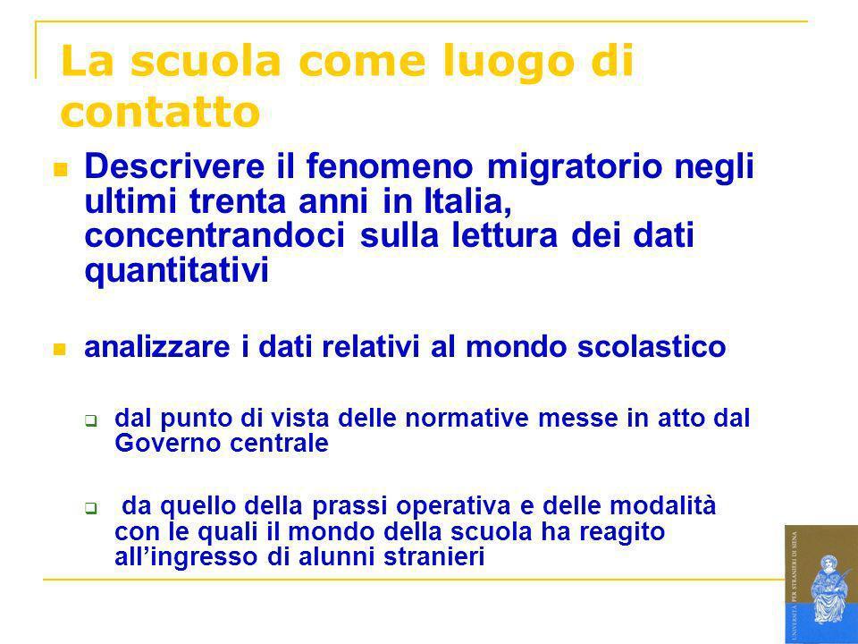 La scuola come luogo di contatto Descrivere il fenomeno migratorio negli ultimi trenta anni in Italia, concentrandoci sulla lettura dei dati quantitat