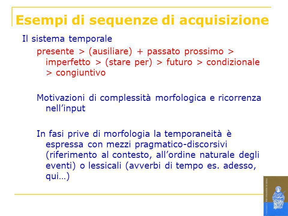 Esempi di sequenze di acquisizione Il sistema temporale presente > (ausiliare) + passato prossimo > imperfetto > (stare per) > futuro > condizionale >