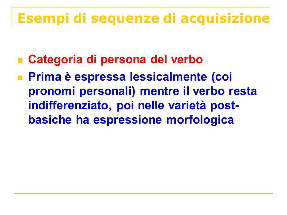 Esempi di sequenze di acquisizione Categoria di persona del verbo Prima è espressa lessicalmente (coi pronomi personali) mentre il verbo resta indiffe