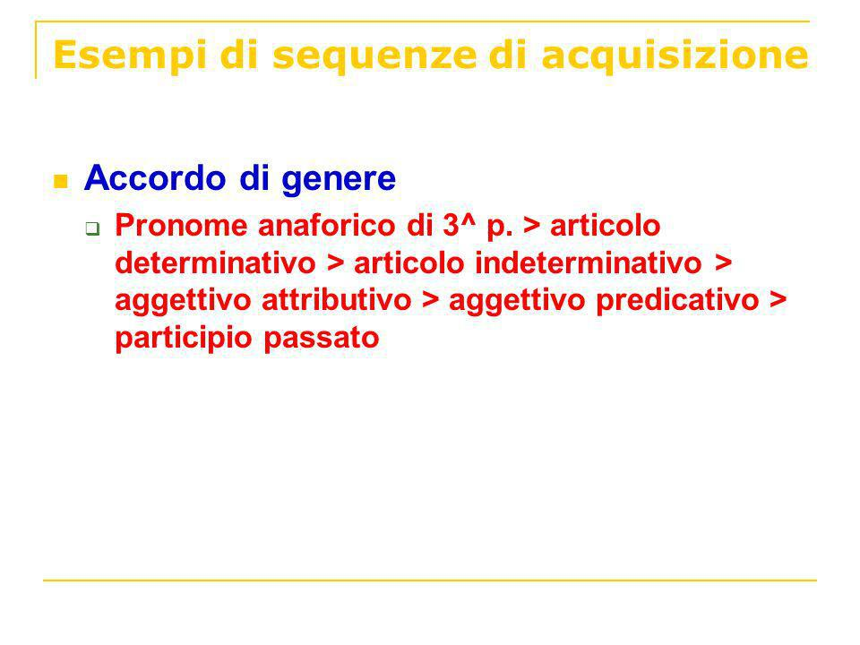 Esempi di sequenze di acquisizione Accordo di genere Pronome anaforico di 3^ p. > articolo determinativo > articolo indeterminativo > aggettivo attrib
