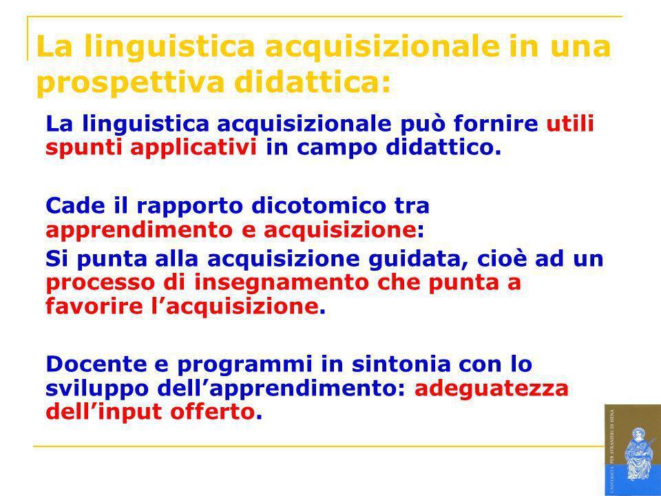 La linguistica acquisizionale in una prospettiva didattica: La linguistica acquisizionale può fornire utili spunti applicativi in campo didattico. Cad