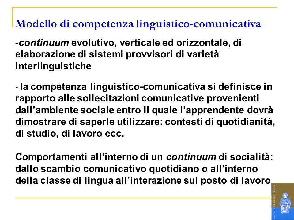 Modello di competenza linguistico-comunicativa -continuum evolutivo, verticale ed orizzontale, di elaborazione di sistemi provvisori di varietà interl