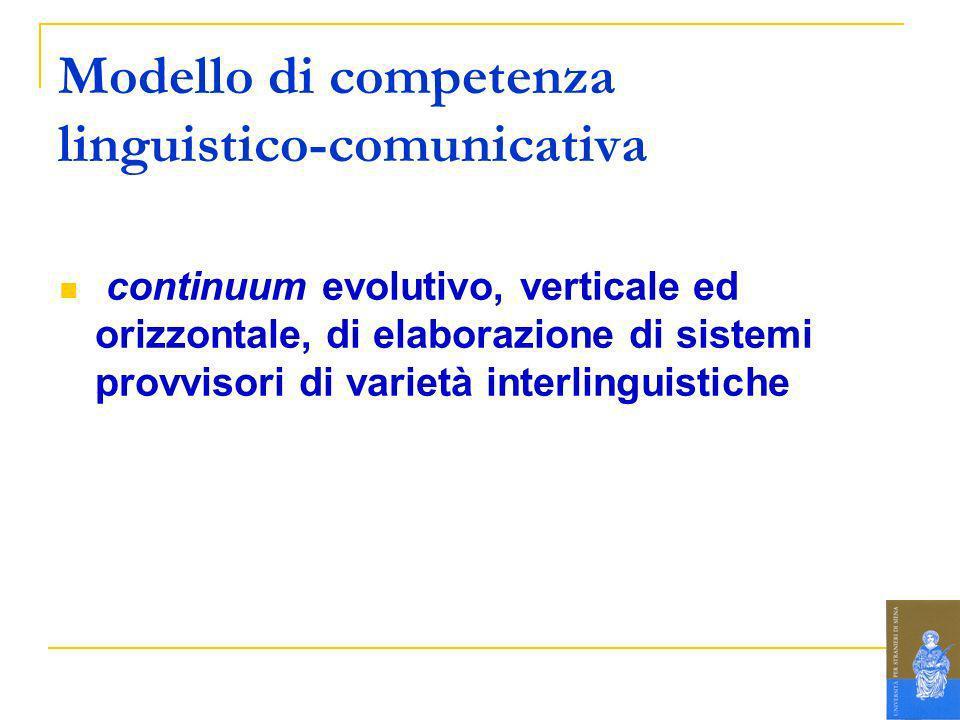 Modello di competenza linguistico-comunicativa continuum evolutivo, verticale ed orizzontale, di elaborazione di sistemi provvisori di varietà interli