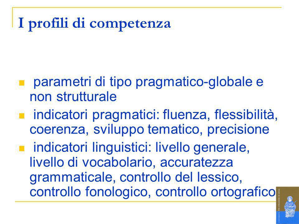 I profili di competenza parametri di tipo pragmatico-globale e non strutturale indicatori pragmatici: fluenza, flessibilità, coerenza, sviluppo temati