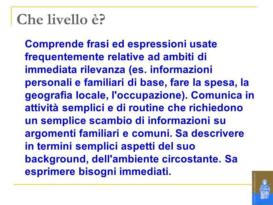 Che livello è? Comprende frasi ed espressioni usate frequentemente relative ad ambiti di immediata rilevanza (es. informazioni personali e familiari d
