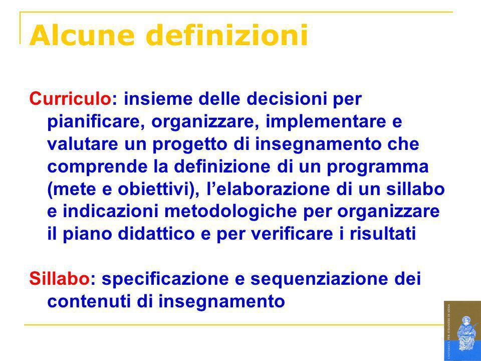 Alcune definizioni Curriculo: insieme delle decisioni per pianificare, organizzare, implementare e valutare un progetto di insegnamento che comprende