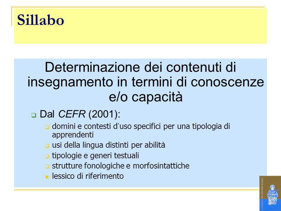 Sillabo Determinazione dei contenuti di insegnamento in termini di conoscenze e/o capacità Dal CEFR (2001): domini e contesti d uso specifici per una